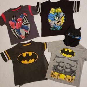 Lot of 3 DC Batman & 1 Marvel Spiderman Tshirt 2T